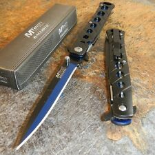 MTech Spring Assisted Open BLACK & BLUE Stiletto Tactical Folding Pocket Knife