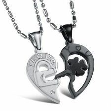 "2PCS Couple Necklace SS Heart Puzzle Pendant ""Love you"" Key To Lock Chain"