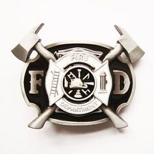BRAND NEW FIRE FIGHTER BLACK BELT BUCKLE  WITH AXES !!