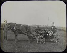 Glass Magic Lantern Slide LADY IN PONY AND TRAP DATED SEPTEMBER 1893 PHOTO
