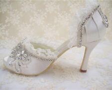 Handmade Lace Diamante Bridal Shoes Peep Toe High Heel Satin Wedding Shoes UK3-8
