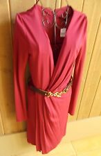 NWT Gucci Purple/ Fuschia Rayon Long Sleeve Belted Dress Size Small