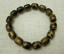 Tiger Eye Gemstones Bead Bracelets - Barrel Type Beads 10 x 12 mm.