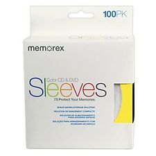 100 Memorex Multi-Color CD/DVD Paper Sleeves Envelope with Window & Flap 100g
