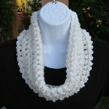 SUMMER COWL SCARF Solid Pure White Small Infinity Loop Handmade Crochet Knit
