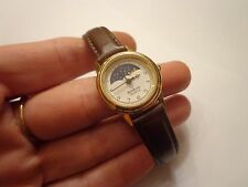 LADIES MOON PHASE Watch by Armitron - BROWN Band - Gold Case - EXCELLENT!!!