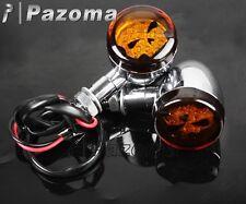 1 Pair Skull Lens Chrome Motorcycle LED Turn Signals Indicators Blinker Lights