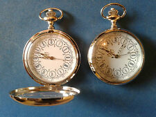 POCKET WATCH NO.5 SILVER COLOURED HALF HUNTER,ROMAN NUMERALS GOLD HANDS