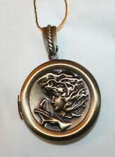 Pretty Brasstone Guardian Angel Divine Protection Shiny Locket Pendant Necklace