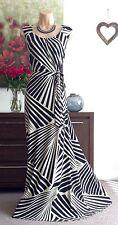 MONSOON *SIGOURNEY* BEIGE & BLACK STRIPE JERSEY STRETCH MAXI DRESS size 18 ~ WOW