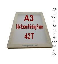 Silk Screen Printing Frame 1xA3 43T (110 US) mesh Textile Wooden Unit Quantity 1