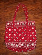Vera Bradley Large 2 Handle Tote Style, Book Bag Purse Red Bandana Pattern