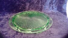 Vintage Depression Glass Vaseline Uranium Green Swirl Footed Cake Plate 10""