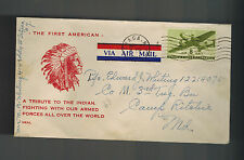 1944 USA Patriotic Cover Ithaca NY Camp Ritchie MD Tribute to Indians Native Ame