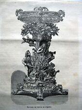 stampa antica old print SERVIZIO DA TAVOLA IN ARGENTO ARGENTIERE ORAFO 1878