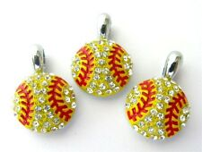 12pcs 15x15mm Rhinestone softball Hang Pendant Charms DIY Necklace/Collar HC360