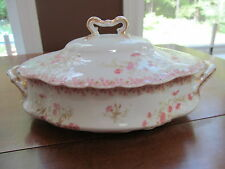 VINTAGE HAVILAND LIMOGES PINK ROSE BORDER COVERED VEGETABLE DISH #11410