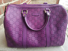 Authentic Gucci Guccissima Purple GG Boston Handbag