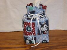 Mickey Mouse in squares blue cotton Fabric Handmade sq Tissue Box Cover