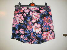 BNWOT Black Neon Pink Orange Blue Floral High Waist Shorts Fitted 6 8 Tailored