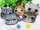 Mini Fashion Kids Cat Face Head Printed Case Coin Purse Wallet Makeup Bag Pouch