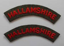 BRITISH ARMY. HALLAMSHIRE VOLUNTEER RIFLE CORPS SHOULDER TITLES ( PAIR ).