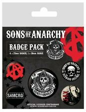 SONS OF ANARCHY 5 PACK OF BADGES NEW OFFICIAL MERCHANDISE