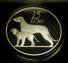 IRELAND 15 EURO SILVER PROOF COIN. 2012. IRISH WOLFHOUND.