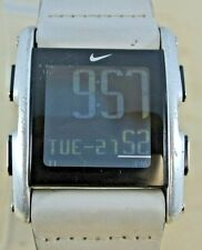 Nike Torque LI WC0065 Digital Watch, Stainless Steel Case, White Leather Band