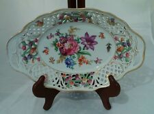 "HTF Vintage Dresden Schumann Floral Flowers Oval Lace Bowl 10""x6.5""x2"""