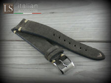 Cinturino in Pelle Scamosciata LS VINTAGE SUEDE 20 mm Watch Strap Band Grigio