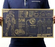 FD3204 Vintage Iron Man Design Drawings Paper Posters Coffee Shop Decor 46x25CM^