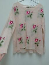 Wildfox White  Label pink S Small oversized sweater flowers Prairie Rose Soft