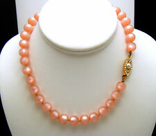 Lovely Vintage Pink Lucite Moonglow Bead Necklace Rhinestone Faux Pearl Clasp