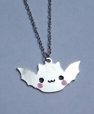 KAWAII MOCHI VAMPIRE BAT NECKLACE silver chibi demon gothic lolita charm new C3