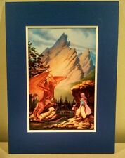 Michael Whelan SIGNED!! Fantasy Art Print Dragon Lake / Star Scroll Melanie Rawn