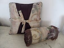 CROSCILL CHAMBORD TWO (2) Throw Pillows 16 x 16 Bow Tie Neck Roll Amethyst Rose