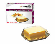BUTTER DISH BOX  WITH TRANSPARENT PLASTIC LID HOLDER KITCHEN UTILITY FRIDGE TRAY