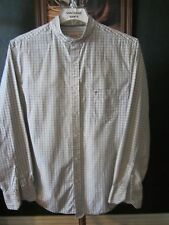 LARGE 16.5-33/34 COTTON MOSSIMO SUPPLY PLAID BANDED COLLARLESS WESTERN SHIRT
