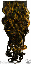 "Black Color Golden Highlighted Curly on off fake Hair Extension 26"" Clip Wig Pin"