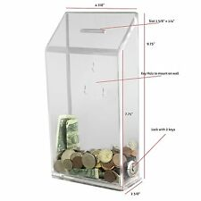 Clear Acrylic Suggestion Box Charity Donation Box. With Lock And 2 Keys AC-01-C