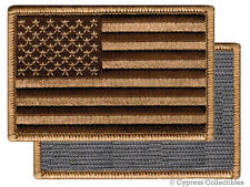 AMERICAN FLAG EMBROIDERED PATCH CAMO BROWN TAN USA US w/ VELCRO® Brand Fastener