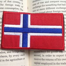 Norwegian Flag 3D Norway National Flag EMBROIDERED HOOK & LOOP PATCH