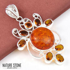 Royal Yellow Amber & Honey Brazil Citrine Gemstone Oval Cut Necklace Pendant