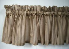 "Soft Light Brown and Black Ticking Stripe Sheer 84"" Cotton Window Valance"