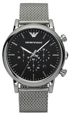NEW Emporio Armani AR1808 SS Mesh Bracelet Mens Chronograph XL 46 Watch MSRP$275