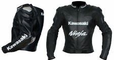 KAWASAKI MOTORBIKE NEW LEATHER BLACK RACING JACKET WITH HUMP CE ARMOR ALL SIZES