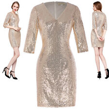 Stunning Womens V-Neck Sequin Wiggle Cocktail Evening Party Bodycon Pencil Dress