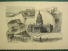 c1890 ANTIQUE PRINT ~ ILLINOIS ~ STATE CAPITOL SPRINGFIELD LAKE MICHIGAN