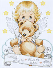 Cross Stitch Kit ~ Tobin Angel w/Teddy Bear Birth Record #T21712